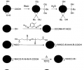 FIG. 5 depicts reaction steps involved in the attachment of HBMA, VF co-polymer on a carbon black (CB) surface by (a) introduction of hydroxyl groups on CB surface, (b) attachment of diisocyanate to the CB surface, (c) introduction of azo-bis group, (d) generation of free radical by decomposition of azo-bis compound, and (e) growth of polymer chain on CB.