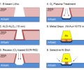 FIG 3. New gate technology developed in this work. 10 nm of ALD-Al2O3 sidewalls protects the gate length defined by e-beam lithography from the oxygen plasma treatment. After Ni/Au gate metal deposition, the bottom Ni layer was selectively etched to further reduce the physical gate length.