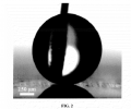 FIG. 2 represents an image of Cassie behavior of a macroscopic water droplet placed onto the Au/thiol-functionalized CuO surface.