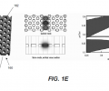 FIG. 1E shows another CCW photonic crystal 160 (left) formed by patterning holes 162 in a dielectric slab 161. Holes 164 arrayed along one column are enlarged to form a coupledcavity waveguide. The central image in FIG. 1E illustrates the guided mode, and the plot at right illustrates the CCW photonic crystal's photonic band structure.