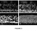 FIG. 3 is a series of images (labeled 1-4) showing localized oxidation of the soot cake forming large ash agglomerates (particularly in image 4).