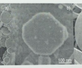 FEG-SEM images of SnO disks in low-mag (a) and high-mag (b &c) images. These high magnetification images of isolated disks are presented showing (b) octagon-like and (c) rounded shape disks.