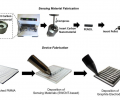 Fabrication of the sensing material consists of mechanically mixing and compressing SWCNT composites into a pellet. Stepwise fabrication of fully drawn chemiresistive sensors on PMMA.
