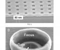FIG. 2 is a magnified photographic image of a tip array with 200-nm spacing and 80-nm gate apertures.  FIG. 3 shows a further magnified view of a double-gated tip, wherein the second gate provides focusing of each individual beamlet.