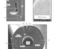 FIG. 4 includes SEM micrographs of the laser fiber structure of an embodiment of the invention.