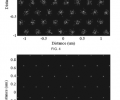 FIG. 4 shows modeled electron beamlets from an 8×8 nanotip array at a focus gate.  FIG. 5 shows the electron beamlets of FIG. 4 downstream after focusing, wherein the electron beamlets are focused by individual microlenses that do not change the spacing between beamlets.