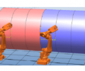 Fig. 1. Example of a team of robots assigned to tasks on a cylindrical structure.