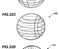FIGS. 22B-D are schematic representations of closed-surface spherical fiber grids of the invention for which the method of the flow chart of FIG. 22A can be implemented;
