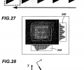 FIG. 26 is a representation of the object image of FIG. 25A as computed for selected locations between the object location and the vectorial fiber photodetector location; FIG. 27 is a view of an image projected on a fiber grid of the invention, showing the parallel projections of acquired photogenerated charge from the rows and columns of the grid; FIG. 28 is a representation of the geometry for determining the parallel projections of FIG. 27;