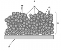 FIG. 1 is a schematic depiction of a superhydrophilic coating.