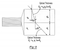 FIG. 9 is a schematic illustration of a multilayer stack showing an optical thickness for a high index of refraction layer and an optical thickness for a low index of refraction layer.