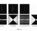 FIGS. 4 a-4 d are illustrations of integration curve traces in space time and corresponding log spectrums of a static camera, a parabolic motion camera of the present invention, a flutter shutter camera and the upper bound.