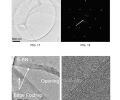 FIGS. 11-14 are TEM images and an electron beam diffraction pattern illustrating the fabricated h-BN films.