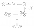 "FIG. 12 depicts (A) an acid initiated coupling of 3,4-ethylenedioxythiophene (EDOT), resulting in an non-conjugated polymer (e.g., ""R"" may be a hydrogen, EDOT or PEDOT); and (B) a trimer with broken conjugation resulting from polymerization under highly acidic conditions."