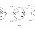 FIG. 6 shows key views (left and right) of a cartoon with a hair stroke that yields an implausible rotated view (middle).