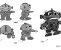 FIG. 7 shows key views, an exploded view of a 2.5D cartoon model, and an automatically generated rotated view of a cartoon alien in one embodiment of the present invention.