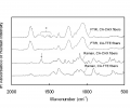 FIG. 7 depicts FTIR and Raman spectra of fully washed CA-CHX fibers and nonfunctional CA-TTE fibers.