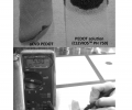 FIG. 5 a shows an oCVD polymer electrode on a single ply of bathroom tissue. FIG. 5 b shows a single ply of bathroom tissue exposed to a drop-cast conducting polymer solution.FIG. 5 c shows a measurement of the 2-point film resistance of an oCVD PEDOT electrode on a single ply of bathroom tissue.