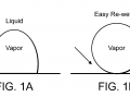 FIGS. 1 a and 1 b are schematic illustrations showing the effect of surface wettability on the state of the vapor bubble attachment to the surface.