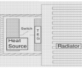 FIG. 3 shows a thermal energy harvester with enclosed heat source.